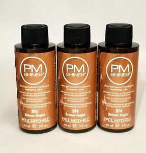 ☆ 3 LOT Paul Mitchell PM Shines 8N Brown Sugar Demi-Permanent Hair Color 2oz ☆