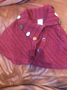 Girl's *Gymboree*Burgundy Cape/Poncho Knit W/Flowers Size 5-6