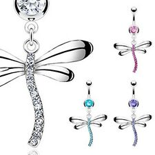 New! Belly Navel Ring with Clear Gem Dragonfly Stainless Steel Barbell Dangle