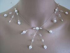 Collier Original Blanc/Cristal pr robe de Mariée/Mariage/Soirée perles nacrées