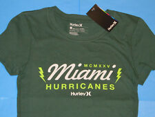 NWT Hurley MIAMI HURRICANES T-Shirt Women Sz S Green Canes Perfect Crew