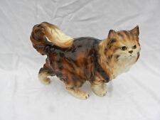 Vintage Retro Mid-Century Modern Ceramic Fluffy Calico Tabby Cat Figure, #E3430