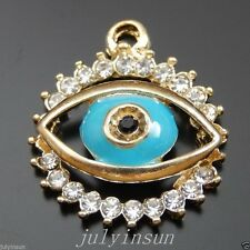 5PCS Gold Alloy 18*21mm Crystal Blue Eye Charms Pendant DIY Accessories 39937