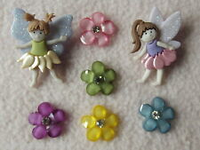 DRESS IT UP BUTTONS ~ MAGICAL FAIRIES ~ 2 FAIRIES ~ 5 COLOURED FLOWERS