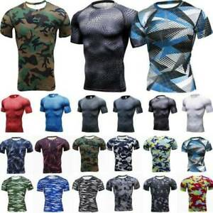 Men Compression Fitness Sports Base Layer Short Sleeve T-shirts Workout Tees Top