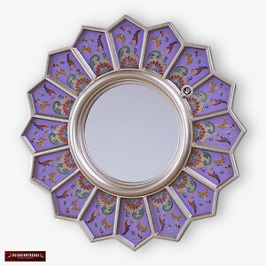 Decorative Round Mirror For wall - Peruvian Accent Mirror - Purple sunflower