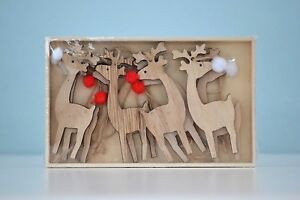 Reindeer Christmas decorations. Wooden Reindeer's with pompom noses (8pcs)