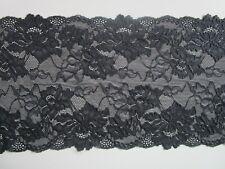 Spitze Schwarz 0,5 METER elastisch 20,5cm breit Borte tolle angebot selten