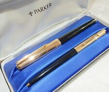 PARKER 61 FOUNTAIN PEN & BALLPOINT BLACK + RG CAP 14K GOLD BROAD NIB - MINT