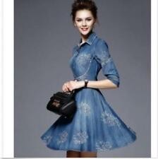 Embroidery Womens Slim Fit Denim Skirt Jean Dress Long Sleeve Shirt Dress New