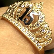 GOLD 14k RING Crown 15 Quinceanera Anos Simulated diamond size 7 ask 5 6 8 9