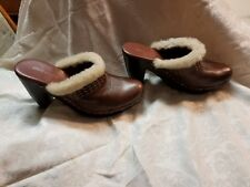 NINE WEST Fur Trimmed Leather Clogs 8 1/2 M in Box