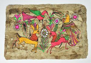 Natural Fiber Textile Paper Art Pic Native Tribal Peace Doves Animals Mystic