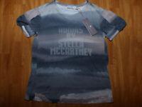 adidas by Stella McCartney Damen Fitness Shirt Gr 38 Grau Kurzarm Frontprint NEU