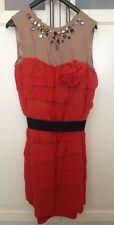 Lanvin for H&M Kleid Dress Seide Rot Nude EUR Größe 42 UK 16 US 12 *NEU*