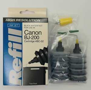 High Resolution Canon BJ-200 Black Ink Refill Kit for Cartridge BC-02 -Twin Pack