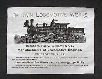 "(301) RAILROAD BALDWIN LOCOMOTIVE WORKS 1888 STEAM TRAIN ADVERT REPRINT 11""X14"""