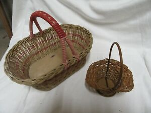 VINTAGE 1950s OLD WOVEN WICKER SHOPPING BASKET WITH HANDLE & WOODEN BASE