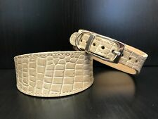 S/M Leather Dog Collar LINED Greyhound Whippet Saluki BEIGE REPTILE PATTERN