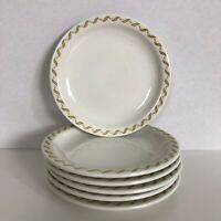 "Buffalo China 6 Bread and Butter Plates 6"" White Gold Scroll Restaurant Ware"