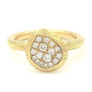 Cherie Dori Diamond Cluster Textured Ring 18K Solid Yellow Gold 0.23 CTW F VS1