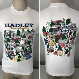 Vintage 90s Hadley Massachusetts Single Stitch 2 Sided T Shirt Men's S/M Small