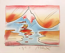 """PETER MAX """"HIMALAYAN VALLEY"""" 1980   HAND EMBELLISHED STUDY EDITION   POP ART"""