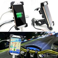 Motorcycle Bike Handlebar Mount Cellphone Holder USB Charger For Scooter ATV KTM