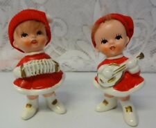Vintage Napco Japan Porcelain Santas Helpers 2 Caroler Girls Christmas Figurines
