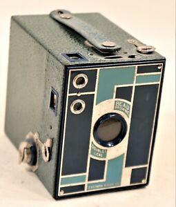 Kodak Beau Brownie 1930s Blue Art Deco Vintage Camera - RARE