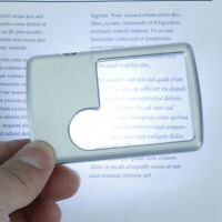 E! Credit Card Led Magnifier Loupe With Light Leather Case Magnifying Glass