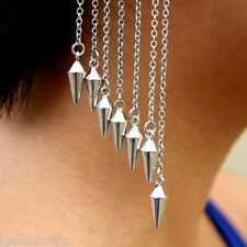 PAIR SILVER MULTI SPIKE CONE EAR CUFF DROP EARRINGS CHAINS BOHO
