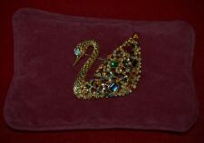 SWAROVSKI CENTENARY SWAN 1995 PIN BROOCH Original Swan Logo 22 KT Gold + CUSHION