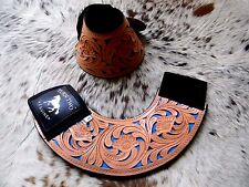 * Sale Tooled Leather Turquoise Inlay Bell Boots Rodeo & Trails New Horse Tack