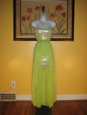 NWT  Cache Peridot Green Hi-Lo Strapless Sequin Maxi Gown Size 4