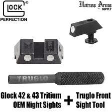 Glock 42 43 OEM Night Sights 3 Dot Set Tritium Glow 6.1mm + Truglo Install Tool