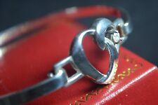 Argento Sterling 925 Bracciale Bangle Pietra CZ Cuore Design Regalo Amore San Valentino