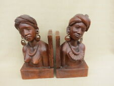More details for pair of large vintage balinese bust bookends