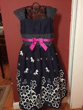 Bonnie Jean Girls Sz. 5 Navy Pink Woven Easter To Summer Dress