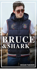 Bruce & Shark Men's Fashion Sleeveless With Hat Vest Jacket Coat MJ5555 UK