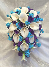 PURPLE  MALIBU BLUE ~ Cascade Bridal Bouquet ~ Calla Lilies Silk Wedding Flowers