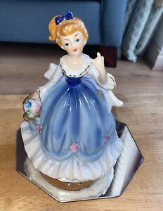 Porcelain Figurine Wind Up Musical Lady Blue Dress Approx 6ins Vintage Ornament