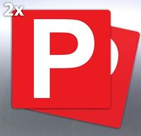 2 x Red P plate 7 yr vinyl stickers 150 mm Australian made free post provisional