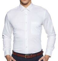 Men's Slim Fit Shirts Luxury Formal Casual Shirt Long Sleeve Tops White Business