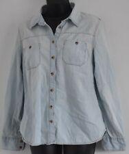 Vintage Designer JEAN SHIRT Womens M Faded Blue Denim Contrast Stitching MERONA