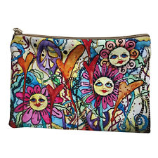 Hippie Boho Bohemian Makeup Stash Bag Pouch 2 piece set Flower Power