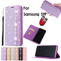 New Bling Diamond Wallet Magnetic Book Flip Case PU Leather Purse Soft TPU Cover