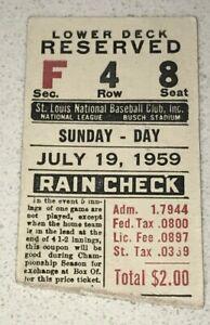 7/19/59 Braves Cardinals Used Tix Ticket Stub Eddie Mathews HR #282 Adcock #165