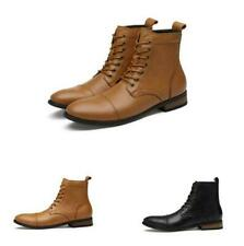 Mens Leather Ankle Boot Casual Lace Up High Top Pointy Toe Work Dress Shoes