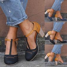 Damen T-Steg Pumps Blockabsatz Mary Jane Party Abend Sommer Sandalen Schuhe DE